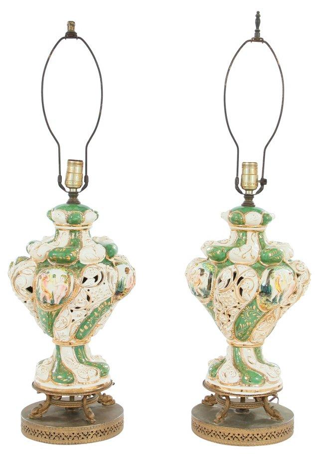 Italian Ceramic Lamps, Pair