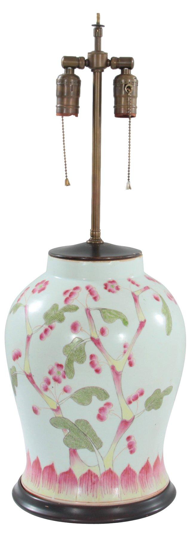 19thC Chinese Export Porcelain Vase Lamp