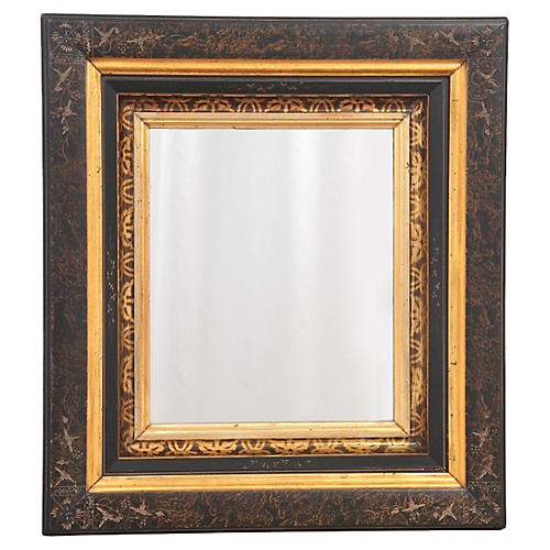 19th-C. Inlaid Wall Mirror