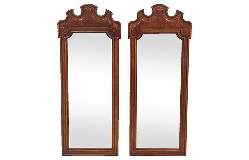 Thomasville Burled Walnut Mirrors Pair Mission Avenue