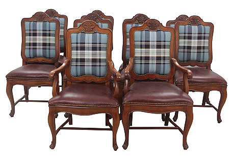 Henredon Leather Dining Chairs, S/10