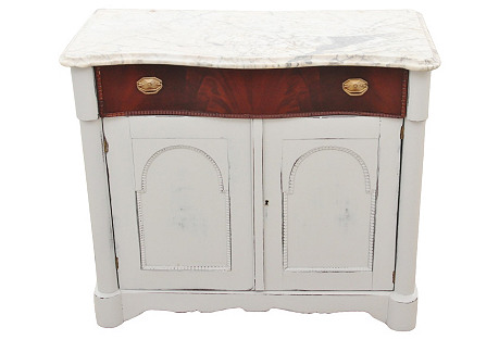 Marble-Top Hall  Cabinet