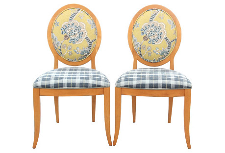 Midcentury Oval Accent Chairs, S/2