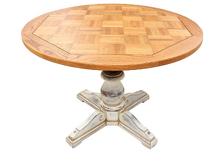 Adjustable Oak Pedestal Table
