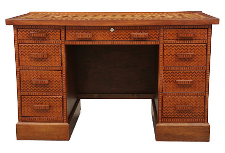 Parquetry Kneehole Desk
