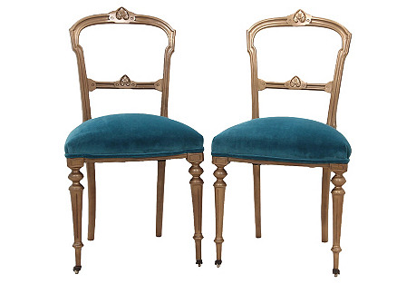 Biedermeier-Style Side Chairs, Pair