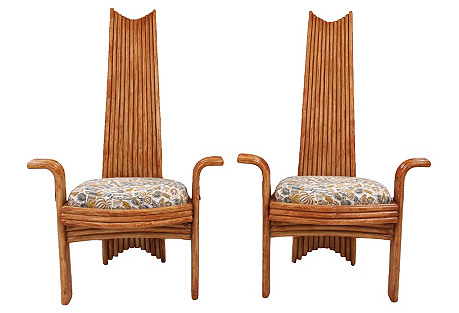 Arthur Edwards Bamboo Chairs, Pair