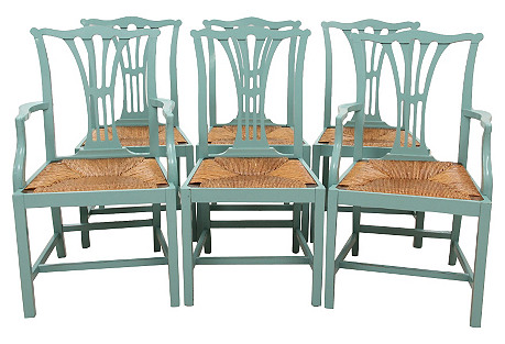 Chippendale Rush Seat Dining Chairs, S/6