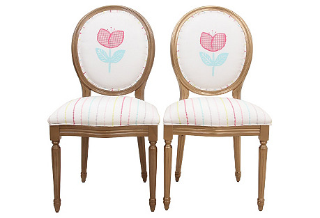 Louis XIV-Style Ava Chairs, Pair