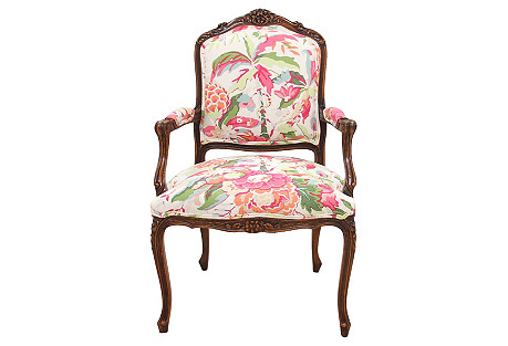 Louis XV-Style Carved Fauteuil
