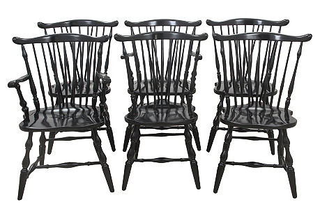 Windsor-Style Dining Chairs, S/6
