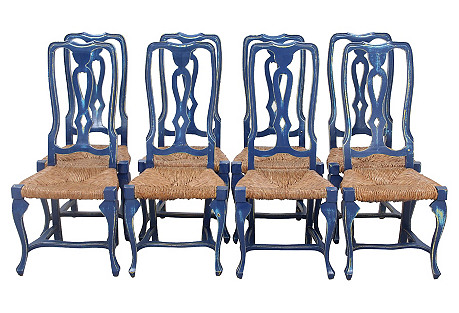 Queen Anne Style Chairs, S/8