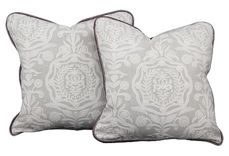 Embroidered Velvet Pillows, Pair