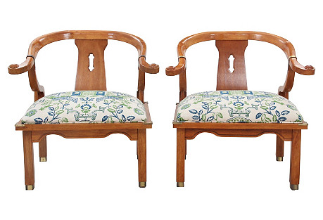 Campaign-Style Tsu Chairs, Pair