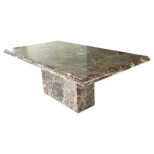 Modernist Pedestal Marble Dining Table