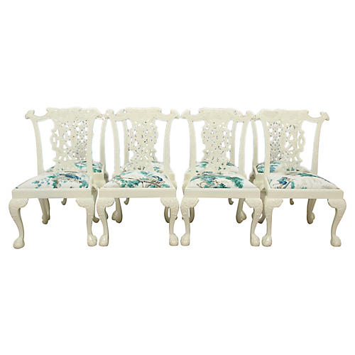 Chinese Chippendale Dining Chairs, S/8