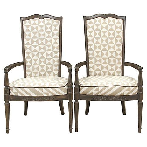 Louis XVI Nuba Chairs, Pair