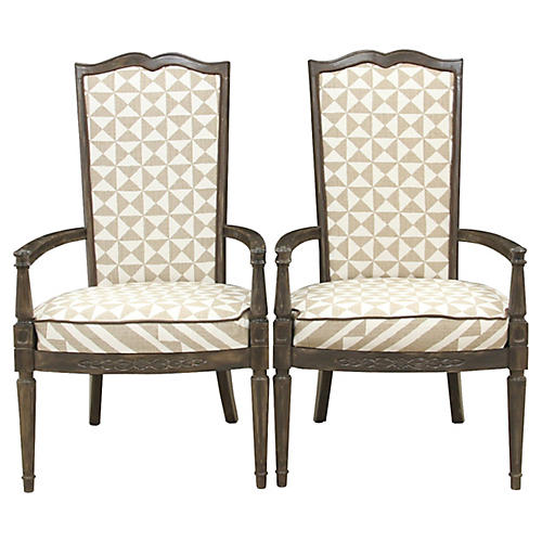 Louis XVI Nuba Chairs, Pair