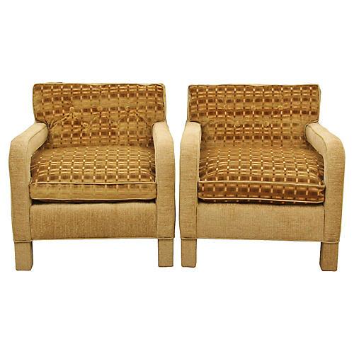 Milo Baughman Caramel Armchairs, Pair