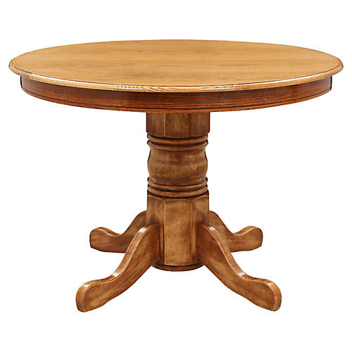 Round Oak Pedestal Table