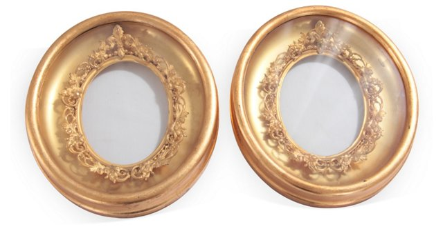 19th-C. Gold Shadow Boxes, pair