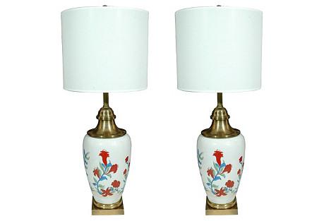 Porcelain Lamps by Chapman, Pair