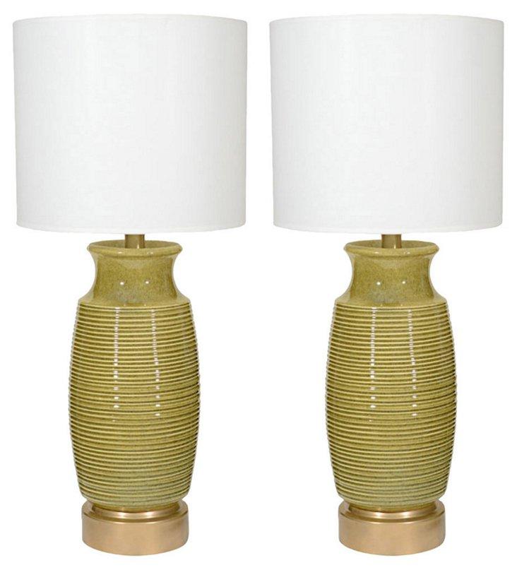 French Celadon Ceramic Lamps, Pair