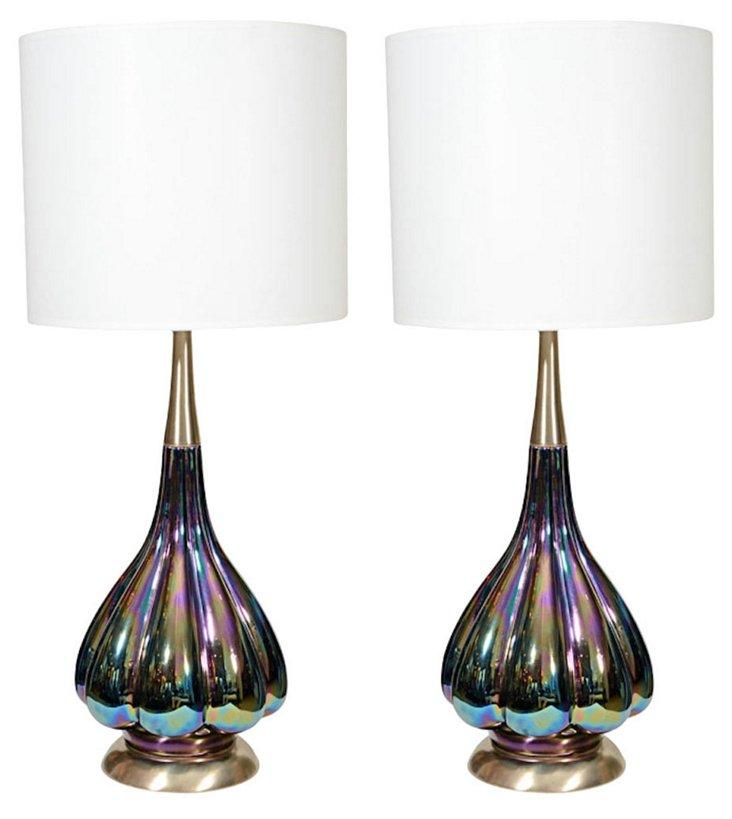 Iridescent Murano Lamps, Pair