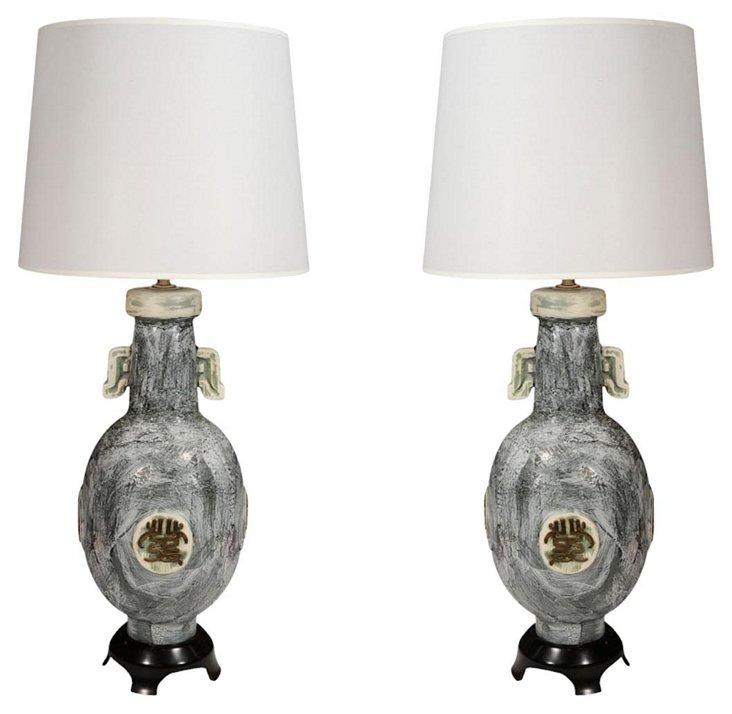 Marbro Ceramic  Lamps, Pair