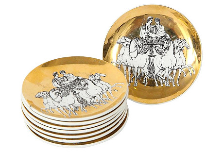 Fornasetti Coasters w/ Chariots, S/8
