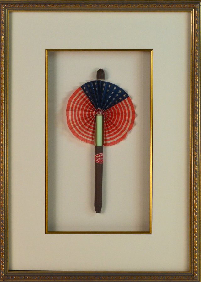 Framed Antique Cigar Flag Fan