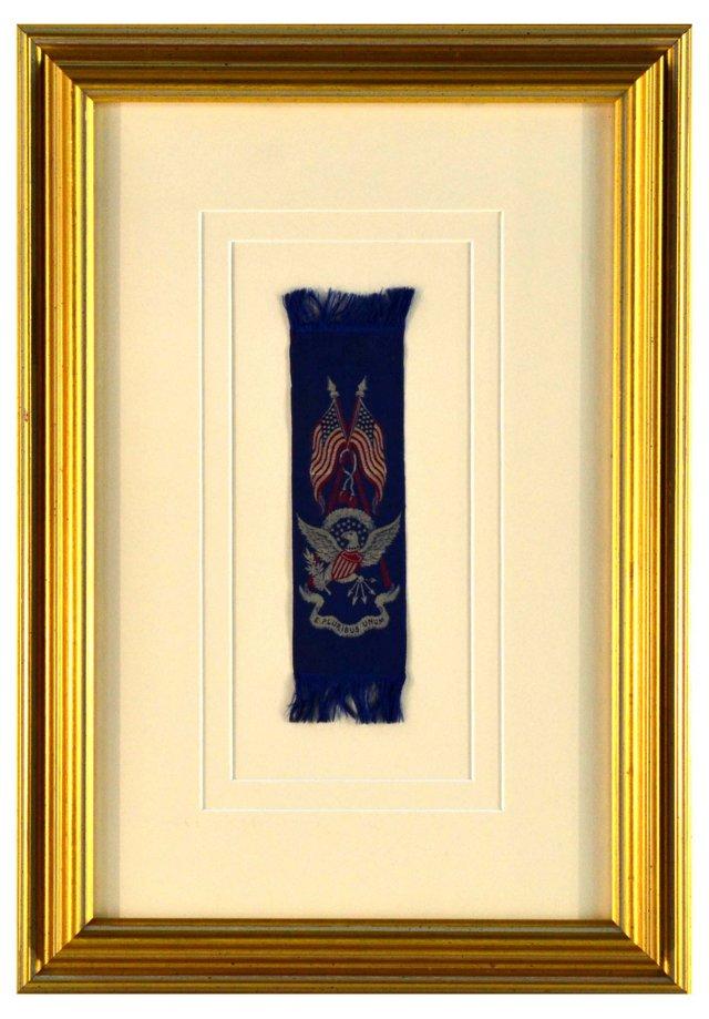 Framed Patriotic Silk Ribbon
