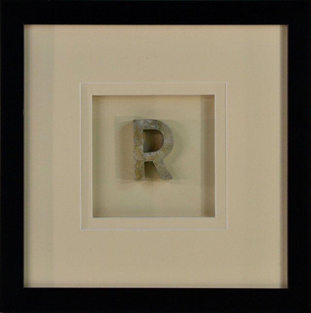 Framed Cast Metal Letter R