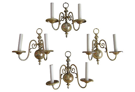 French Brass  Sconces, Set of 4