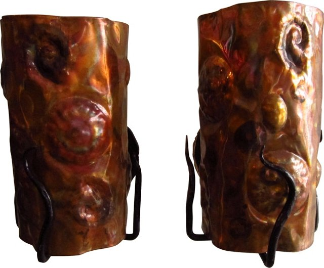 Hammered Copper Sconces, Pair