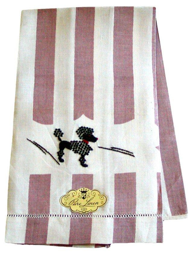 Black Poodle Striped Linen Guest Towel