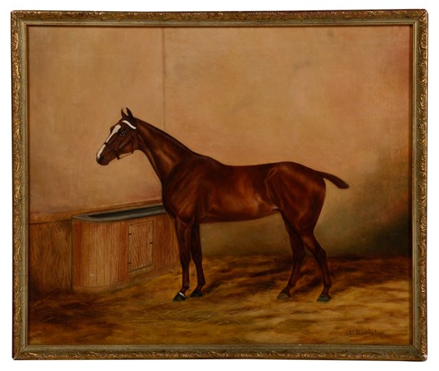 Thoroughbred in Stall