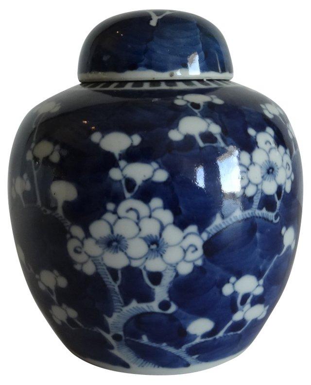 Antique Blue & White Ginger    Jar