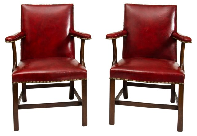 Red Leather Armchairs, Pair