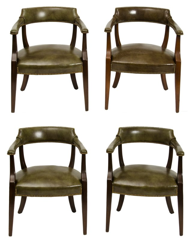 Hickory Leather Barrel-Back Chairs, S/4