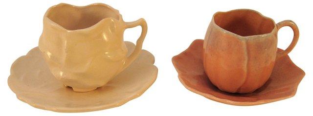 Demitasse Rose Cups & Saucers, Pair