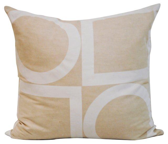 Beige & White Victoria Hagan Pillow