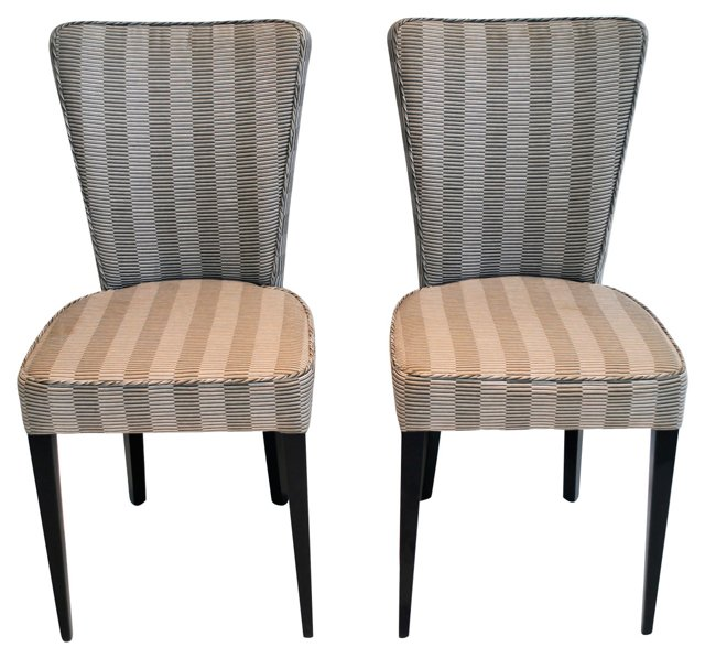 Striped Occasional Chairs, Pair