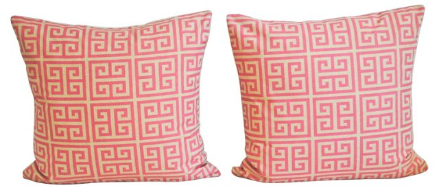 Pink & Beige Greek   Key Pillows, Pair