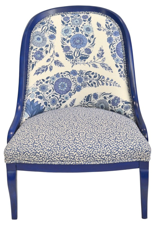 Slipper Chair w/ Blue Paisley Print