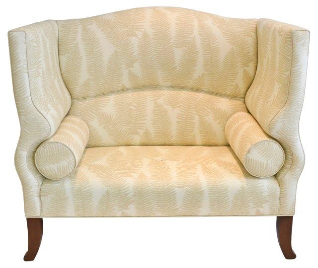 Custom Settee w/ Duralee Fern Linen