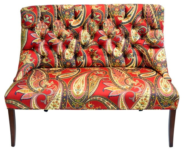 Custom Tufted Bench in Paisley Print
