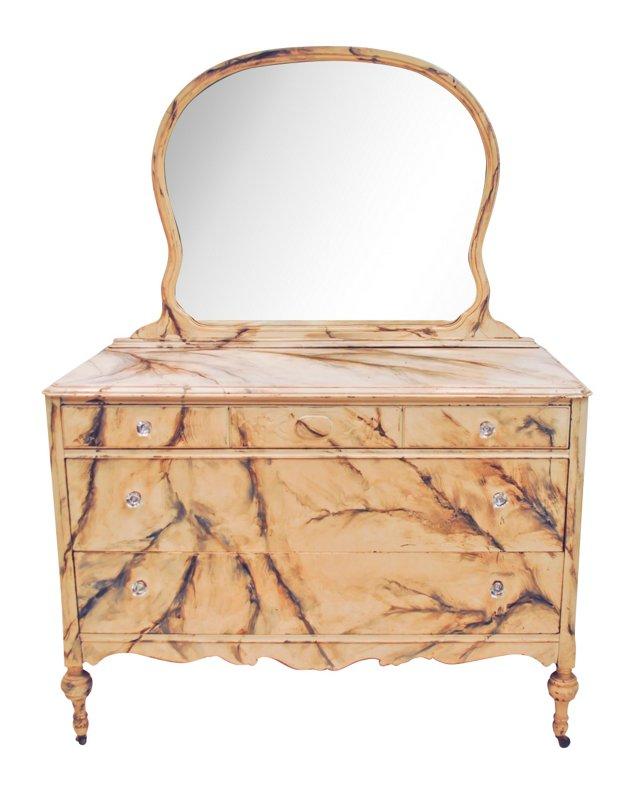 Faux-Marble Dresser & Mirror