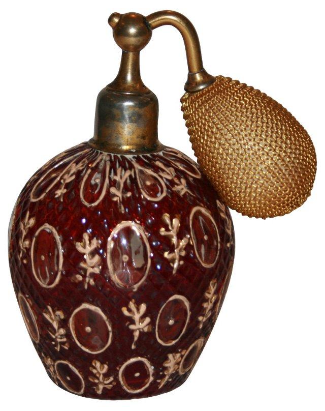 Cranberry French Perfume Bottle, C. 1920