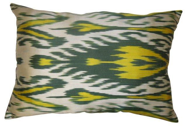 Yellow & Green Ikat Pillow
